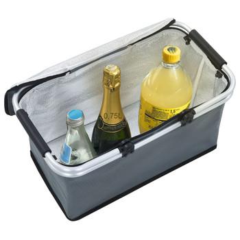 vidaXL Sklopiva torba za hlađenje siva 46 x 27 x 23 cm aluminijska