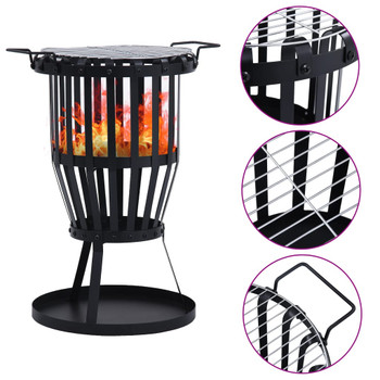 vidaXL Vrtna košara za vatru s rešetkom za roštilj čelična 47,5 cm