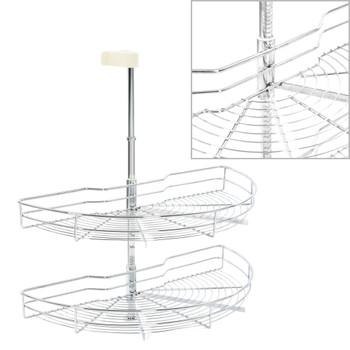 vidaXL Kuhinjska žičana košara s 2 razine srebrna 180° 75 x 38 x 80 cm
