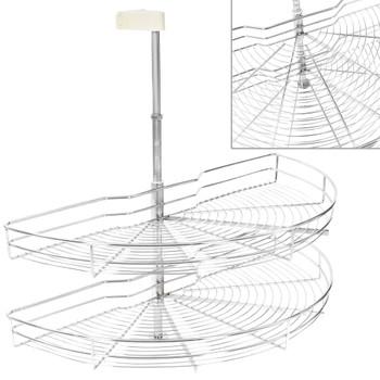 vidaXL Kuhinjska žičana košara s 2 razine srebrna 180° 85 x 44 x 80 cm