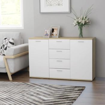 vidaXL Komoda bijela i boja hrasta sonome 120 x 35,5 x 75 cm iverica