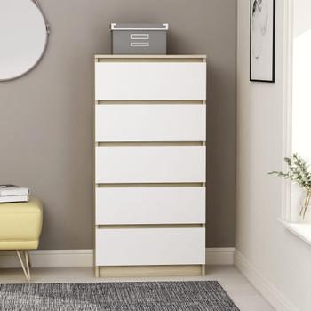 vidaXL Komoda s ladicama bijela i boja hrasta 60 x 35 x 121 cm iverica