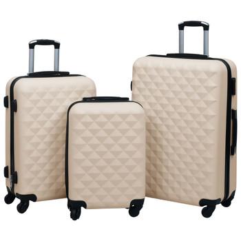 vidaXL 3-dijelni set čvrstih kovčega zlatni ABS