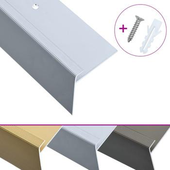 vidaXL Rubnjaci za stepenice F-oblika 15 kom aluminijski 90 cm srebrni