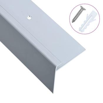 vidaXL Rubnjaci za stepenice F-oblika 15 kom aluminijski 134 cm srebrni