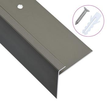 vidaXL Rubnjaci za stepenice F-oblika 15 kom aluminijski 100 cm smeđi