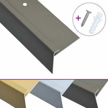 vidaXL Rubnjaci za stepenice F-oblika 15 kom aluminijski 134 cm smeđi
