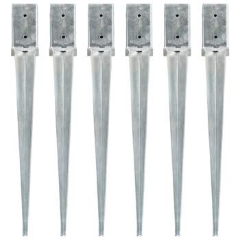 vidaXL Šiljci za tlo 6 kom srebrni 8 x 8 x 76 cm od pocinčanog čelika