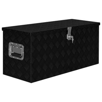 vidaXL Aluminijska kutija 90,5 x 35 x 40 cm crna