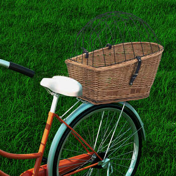 vidaXL Stražnja košara za bicikl s pokrovom 55x31x36 cm prirodna vrba