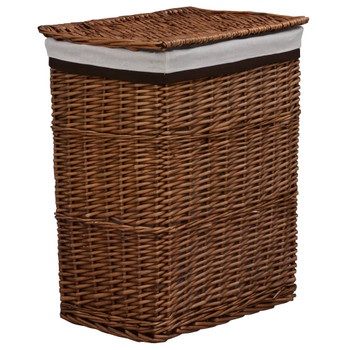 vidaXL Složiva košara za rublje smeđa od vrbe