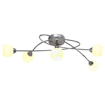 vidaXL Stropna svjetiljka s okruglim bijelim sjenilima za 5 žarulja G9