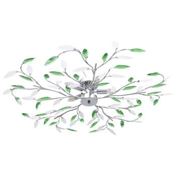 vidaXL Stropna svjetiljka s akrilnim lišćem za 5 žarulja E14 zelena