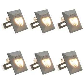 vidaXL Vanjske LED zidne svjetiljke 6 kom 5 W srebrne četvrtaste