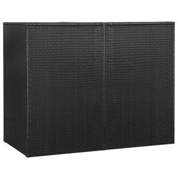 vidaXL Spremište za 2 kante za smeće crno 153 x 78 x 120 cm poliratan