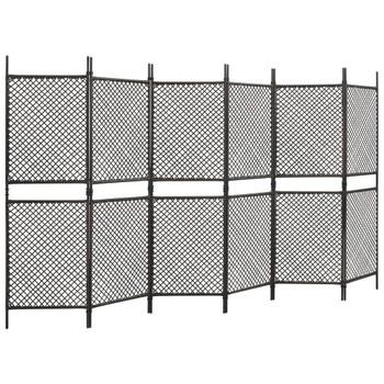 vidaXL Sobna pregrada od poliratana sa 6 panela smeđa 360 x 200 cm