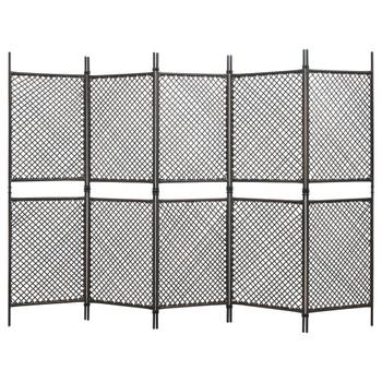 vidaXL Sobna pregrada od poliratana s 5 panela smeđa 300 x 200 cm