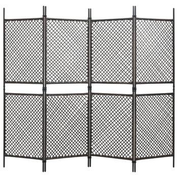 vidaXL Sobna pregrada od poliratana s 4 panela smeđa 240 x 200 cm