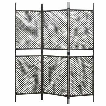 vidaXL Sobna pregrada od poliratana s 3 panela smeđa 180 x 200 cm