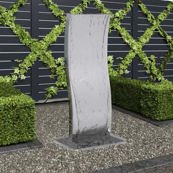 vidaXL Vrtna fontana s crpkom od nehrđajućeg čelika 90 cm zakrivljena