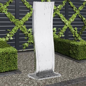 vidaXL Vrtna fontana s crpkom od nehrđajućeg čelika 130 cm zakrivljena