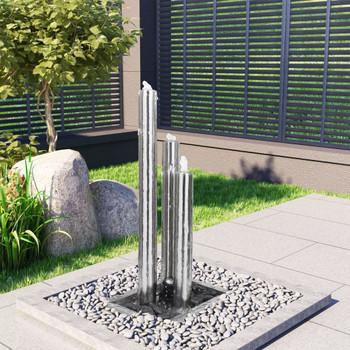 vidaXL Vrtna fontana srebrna 48 x 34 x 88 cm od nehrđajućeg čelika