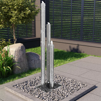 vidaXL Vrtna fontana srebrna 48 x 34 x 153 cm od nehrđajućeg čelika
