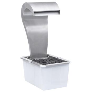 vidaXL Vrtni vodopad srebrni 52,4 x 34,2 x 82 cm od nehrđajućeg čelika