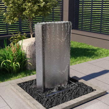 vidaXL Vrtna fontana srebrna 60,2x37x122,1 cm od nehrđajućeg čelika