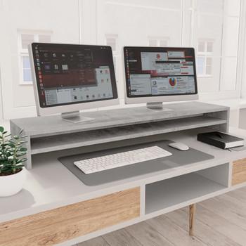 vidaXL Stalak za monitor siva boja betona 100 x 24 x 13 cm od iverice