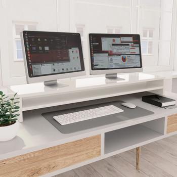 vidaXL Stalak za monitor visoki sjaj bijeli 100 x 24 x 13 cm iverica