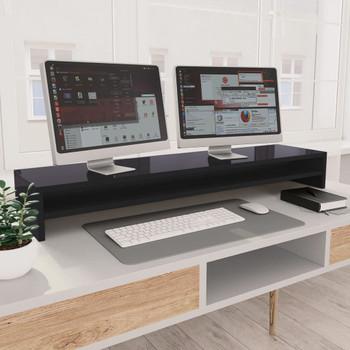 vidaXL Stalak za monitor visoki sjaj sivi 100 x 24 x 13 cm od iverice