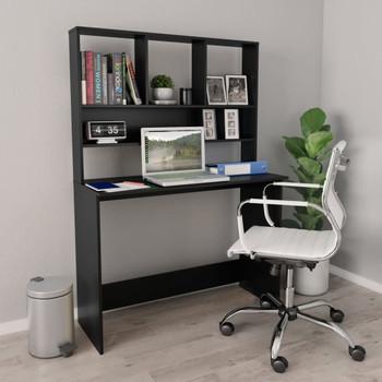 vidaXL Radni stol s policama crni 110 x 45 x 157 cm o