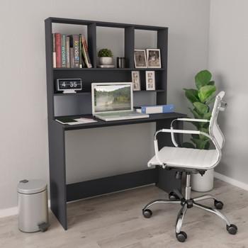vidaXL Radni stol s policama sivi 110 x 45 x 157 cm od iverice