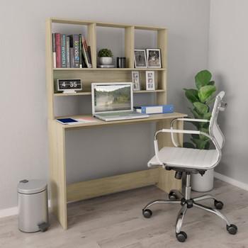 vidaXL Radni stol s policama boja hrasta sonome 110x45x157 cm iverica