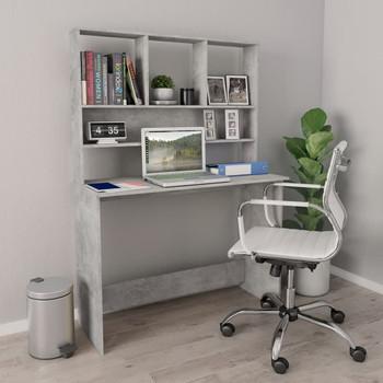 vidaXL Radni stol s policama siva boja betona 110x45x157 cm iverica