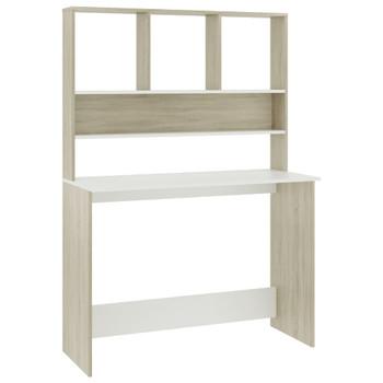 vidaXL Radni stol s policama bijeli i hrast 110x45x157 cm od iverice