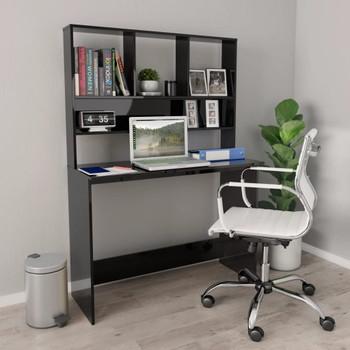 vidaXL Radni stol s policama visoki sjaj crni 110x45x157 cm iverica