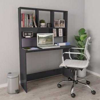 vidaXL Radni stol s policama visoki sjaj sivi 110x45x157 cm iverica