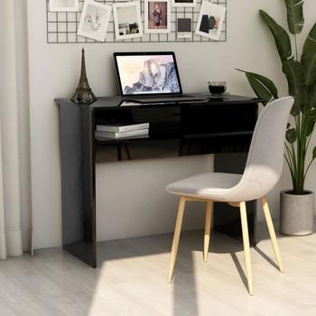 vidaXL Radni stol visoki sjaj crni 90 x 50 x 74 cm od iverice