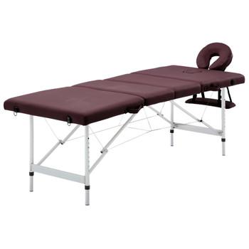 vidaXL Sklopivi masažni stol s 4 zone aluminijski ljubičasti