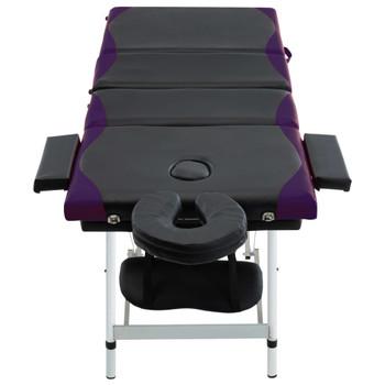 vidaXL Sklopivi masažni stol s 4 zone aluminijski crno-ljubičasti