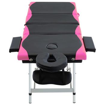 vidaXL Sklopivi masažni stol s 4 zone aluminijski crno-ružičasti