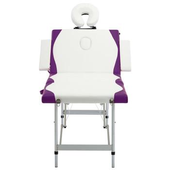 vidaXL Sklopivi masažni stol s 4 zone aluminijski bijelo-ljubičasti