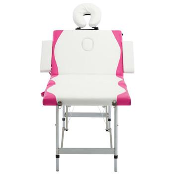 vidaXL Sklopivi masažni stol s 4 zone aluminijski bijelo-ružičasti