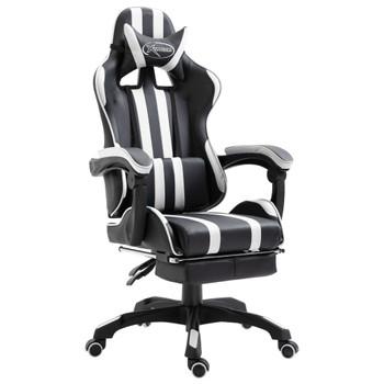 vidaXL Igraća stolica od umjetne kože s osloncem za noge bijela