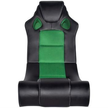 Crno-zelena stolica za ljuljanje od umjetne kože s audio sustavom