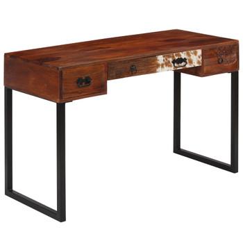 vidaXL Radni stol od masivnog drva šišama i prave kože 117x50x76 cm