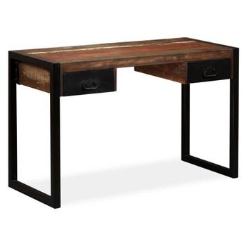 vidaXL Pisaći stol s 2 ladice od masivnog obnovljenog drva 120x50x76 cm