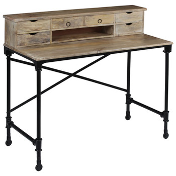 vidaXL Pisaći stol od masivnog drva manga i čelika 110 x 50 x 96 cm